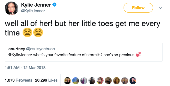 And her favorite feature of Stormi's — her toes!