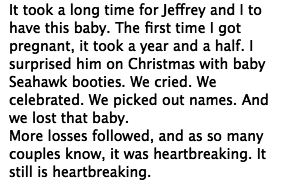 """In the post, Hilarie referred to her new daughter as her """"miracle baby"""" and opened up about having multiple miscarriages over the past five years."""