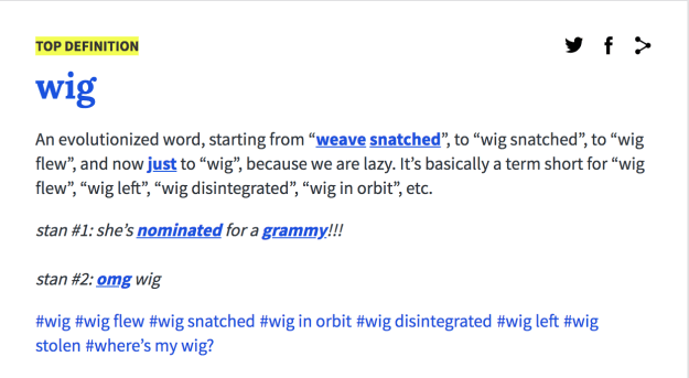"And for all you heteros out there, here's the Urban Dictionary term for ""wig."" The more you know!"