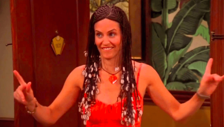 """Definitely when Monica gets cornrows and braids in Barbados. Chandler finds it so """"disgusting"""" that he can't even kiss her. So – a traditional black hairstyle is disgusting to you? – a4dd5cc231"""