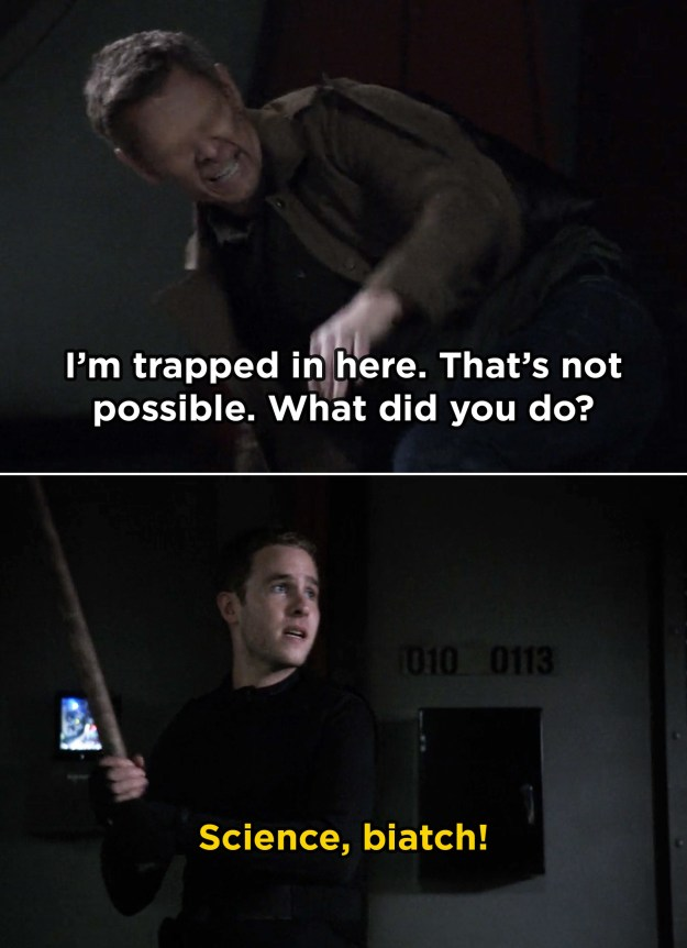 In Agents of S.H.I.E.L.D., Iain De Caestecker added in a reference to Breaking Bad during the Season 2 finale when he uttered Jesse's iconic catchphrase.