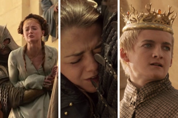 Now, you may not remember ALL the details of this heartbreaking scene, but Sansa was screaming her poor little heart out, Arya was hiding in Yoren's arms, and that little shit Joffrey was being, well, Joffrey...