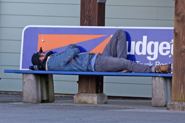 Imagineer this: you're walking, minding your own business and you see someone sleeping on a bench. And not just any bench, but a bench advertising Budget Rental Car!