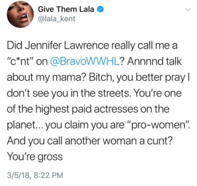 Lala then responded to Jennifer's remarks in a now-deleted tweet: