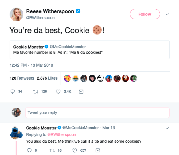When she had this extremely pure interaction with Cookie Monster: