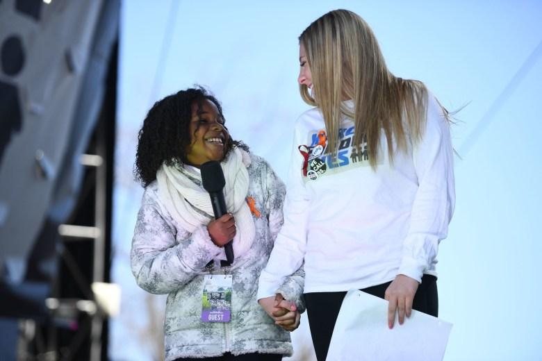 Martin Luther King Jr.'s granddaughter Yolanda Renee King (left) and Marjory Stoneman Douglas High School student Jaclyn Corin in Washington, DC.