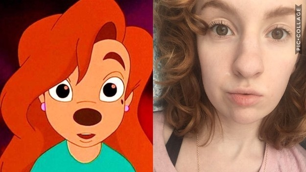"And this girl, who somehow looks exactly like Roxanne from ""A Goofy Movie"" and I am fully shook:"
