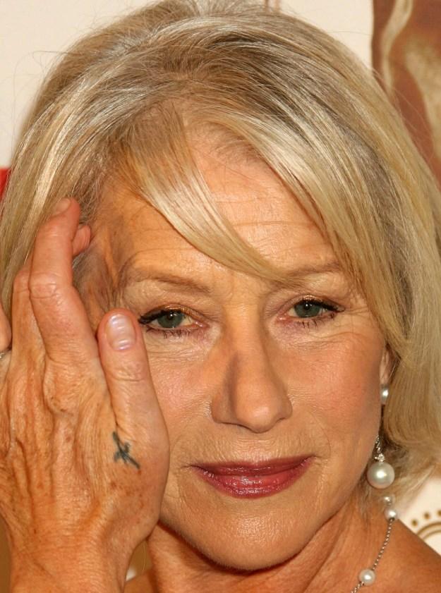"""Helen Mirren's lil """"X"""" thing."""