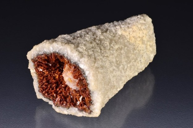 This geode (crystalized rock) that looks like a plump burrito.