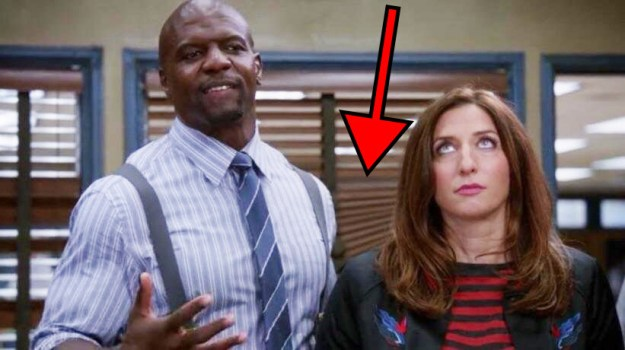 """In Brooklyn Nine-Nine, it's revealed that the new captain is """"too stupid to work the blinds."""" Later in the episode, you can see the blinds in the background aren't closed properly."""