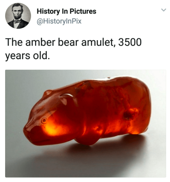 A 3500 year old amber bear amulet.