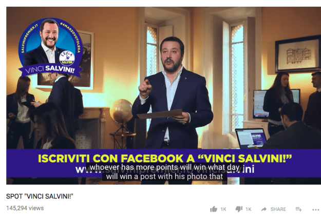 One month before election day, the Lega leader also raised eyebrows for running a bizarre competition, which encouraged followers to drive up the engagement on his Facebook page.