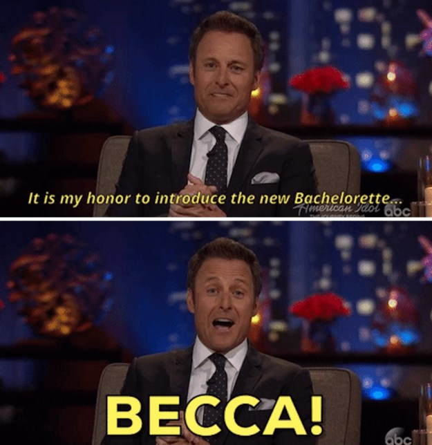 Then, of course, when it was announced Becca is going to be the new Bachelorette...