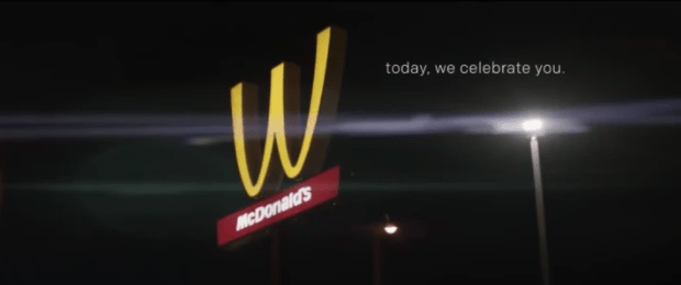 "Also celebrating International Women's Day, McDonalds flipped its golden arches upside down on Thursday so it would look like a ""W"" instead of an ""M,"" because women."