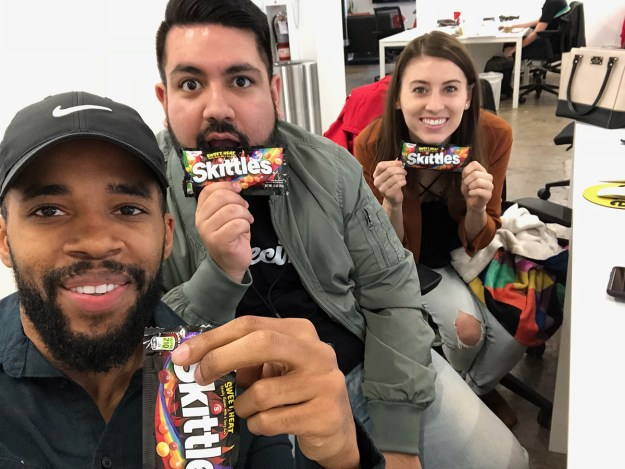 Three of us decided to try the new Skittles flavors individually and all together to see how they taste.