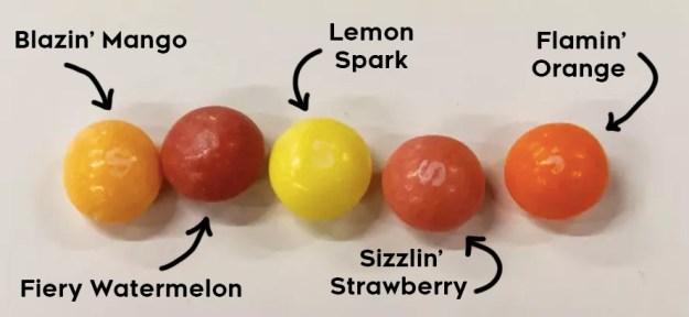The five flavors include Blazin' Mango, Fiery Watermelon, Lemon Spark, Sizzlin' Strawberry, and Flamin' Orange.