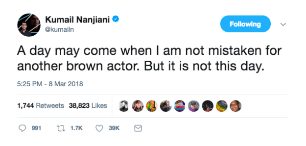 Despite being an accomplished writer, comedian, and actor, the Oscar nominee is still burdened by the same issue: being mistaken for his fellow brown colleagues.