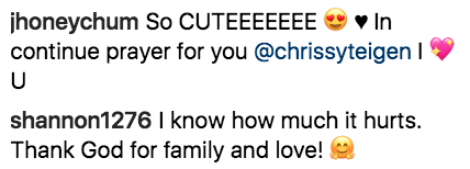 Fans quickly flooded Chrissy's comments with messages of love and support.