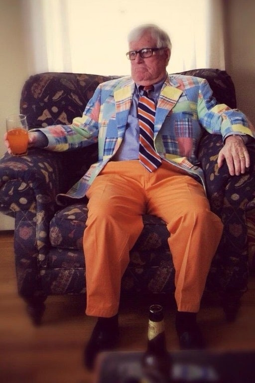 This grandpa who was forced into wearing pastels — lots and lots of pastels.