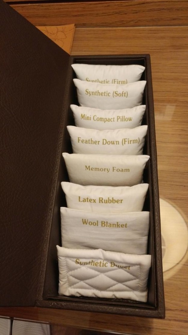 ...while this hotel has a whole MENU of pillows, along with tiny little samples of each.