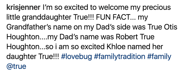 """And she revealed how """"excited"""" she'd been to hear that Khloé was to continue tradition."""