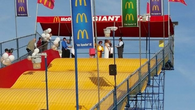 This couple who got married on the McDonald's Giant Slide with Ronald McDonald as a witness.