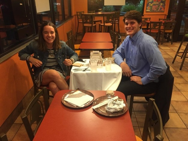 This couple who went to Taco Bell for their first date and had their friend wait on them.