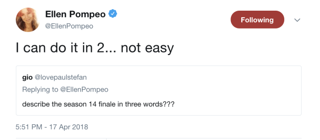 "While we still have some time before Grey's Anatomy's Season 14 finale, Ellen Pompeo tweeted that the finale is ""not easy,"" which only has me worrying about Arizona and April's fates EVEN MORE."