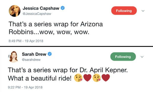 After 10 years of playing Arizona Robbins and April Kepner, both actors said goodbye when they wrapped filming yesterday and everyone was super emotional about it.