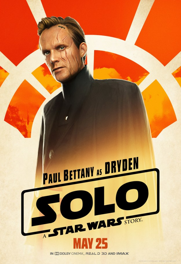 Our villain, Dryden Vos (Paul Bettany), is a vicious but calculating crime lord who heads up The Crimson Dawn. He's giving me some Grand Moff Tarkin vibes and I'm fine with it.