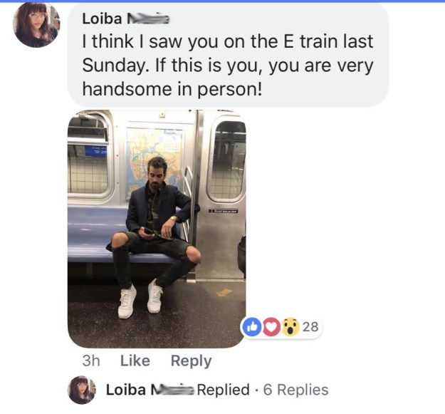 """To make sure it was him, Loiba posted her photos of him to his official Facebook fan page. """"If this is you, you are very handsome in person!"""" she wrote."""