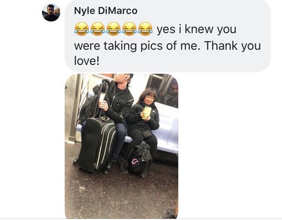 To her surprise, not only did DiMarco respond and confirm it was him, he posted a photo of her on the subway that day catching her taking photos of him.