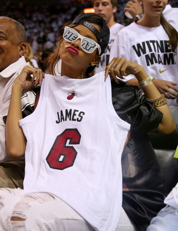 Rihanna cheered on her favorite athlete, LeBron James, courtside while he was still a member of the Miami Heat.