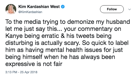 """But wait! It gets better/worse! Enter Kim Kardashian. She quickly tweeted in support of her husband, saying the media was """"demonizing"""" his behavior on Twitter as """"being erratic."""""""