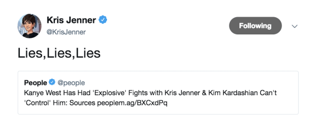"Kris ""No Days Off"" Jenner immediately went into emergency spin mode, denying not one..."