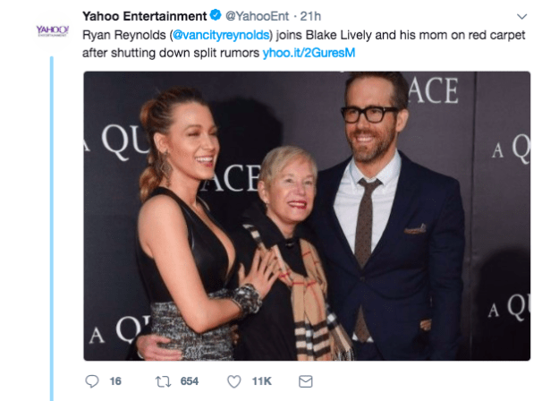 Yahoo tweeted this, obviously referring to the rumors about Blake and Ryan...