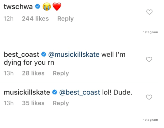 """Katie commented, """"Lol! dude,"""" while Tom followed up with a crying face and red heart emoji."""