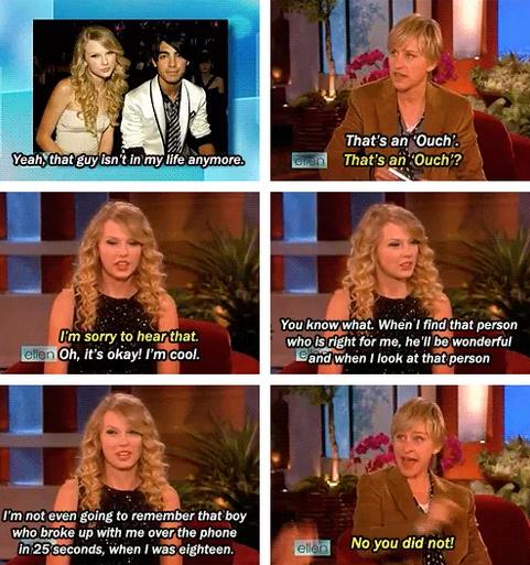 When baby Taylor Swift shaded the fuck out of Joe Jonas on Ellen:
