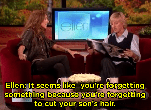 When Ellen shadily commented on Celine Dion's son's hair: