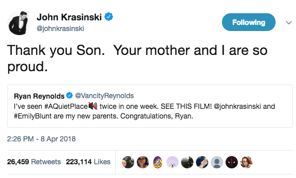 If Ryan's review of the movie wasn't great enough by itself, his dad John Krasinski weighed in to thank Ryan for his support.