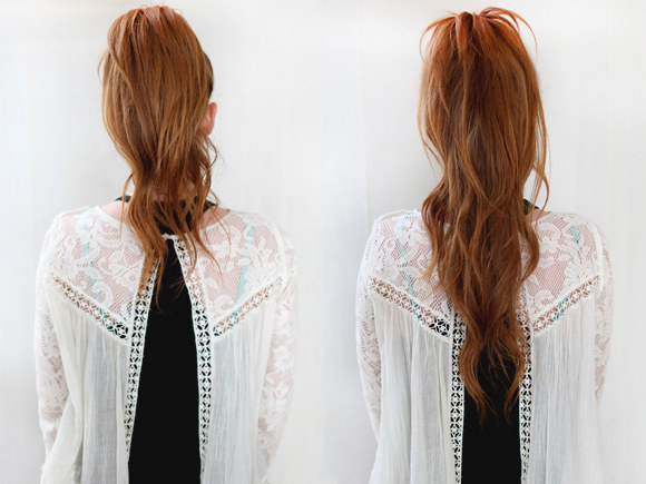 It helps if you make your hair wavy with a curling wand (like this one for $14.69 on Amazon) first for more volume!Check out more from Free People on how to upgrade the classic ponytail!!!