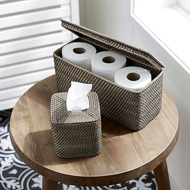 "It's also super helpful for guests to leave TP out so they don't have to rummage through your house looking for some just to do their business. Promising review: ""I bought this a month ago to hold extra toilet paper out of sight in the bathroom. I selected the grey color to compliment the silver accents. The basket is small enough to sit on top of the commode, but large enough to hold two extra large rolls of toilet paper, extra hand towels, and a little bottle of those toilet bowl freshener sprays. It's perfect for my tiny hall bathroom!"" —Teri71Get it from Crate and Barrel for $29.95 (available in three colors)."