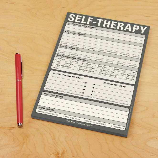 "Promising review: ""In all seriousness, I work in a stressful environment that brings up all kinds of issues. Dealing with...interesting coworkers can be trying. I bought this self-therapy pad as a joke. However, when troubling things happen here, I've found them to be genuinely helpful in dealing with it so that I don't get too upset. Whether you need this as a joke or for your own serious use, I recommend it."" —Dr. BraxyGet it from Amazon or Walmart for $7.11."