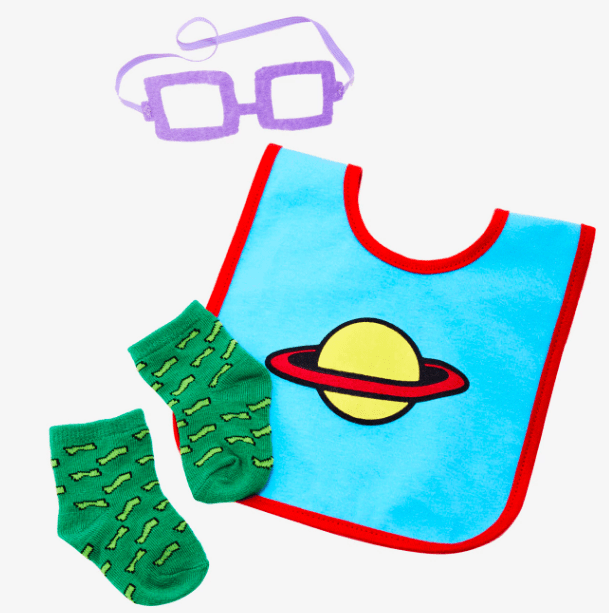 Get the three piece set (including bib, socks, and glasses) from BoxLunch for $16.90.