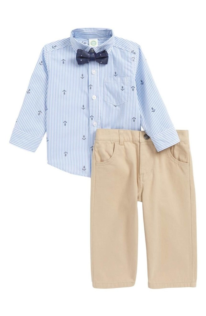 """Promising review: """"Absolutely adorable! Can't wait for my little guy to wear this for Easter. The details are impeccable and the fit is perfect."""" —mandaann17Get the three piece set (including slack, button-up, and bow-tie) from Nordstrom for $36 (available in sizes 12M-24M)"""
