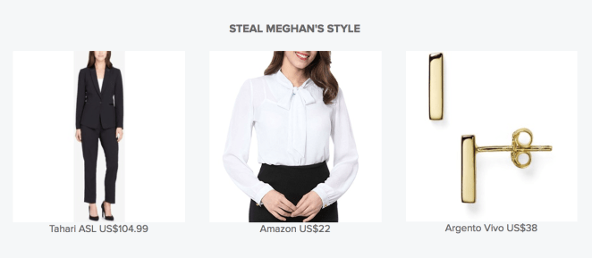 * The suit is currently sold out, but you can keep an eye out on Macy's to see if they restock soon.* You can get the blouse from Amazon starting at $17.99.* You can get the earrings from Nordstrom for $38.