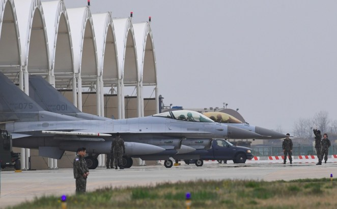 """South Korean KF-16 jet fighters prepare for takeoff during the """"Max Thunder"""" South Korea–US military joint air exercise in 2017."""