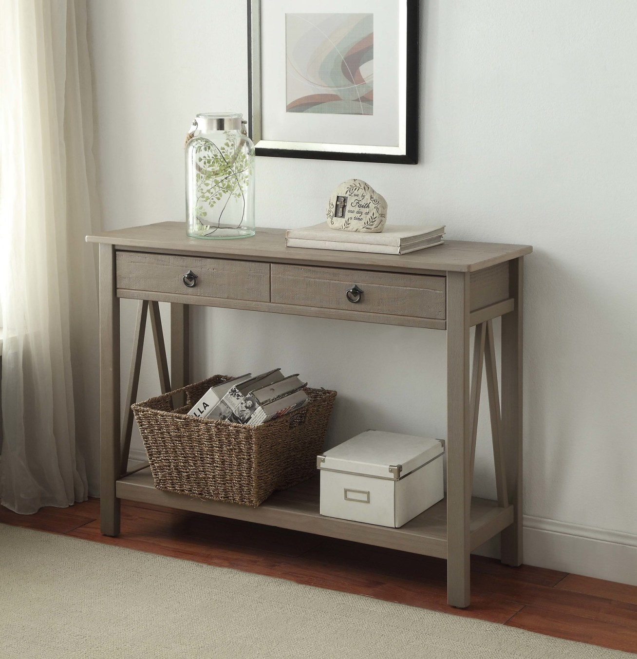 "Promising review: ""This is a great entry/sofa table, and the price was a steal!! The size was perfect for my semi-narrow entryway — just what I've been looking for. The table was very easy to put together. The table did come with a visual diagram with everything numbered and it was very easy to follow. The table looks like I paid several hundred dollars for it."" —cardsfan1Price: 0"