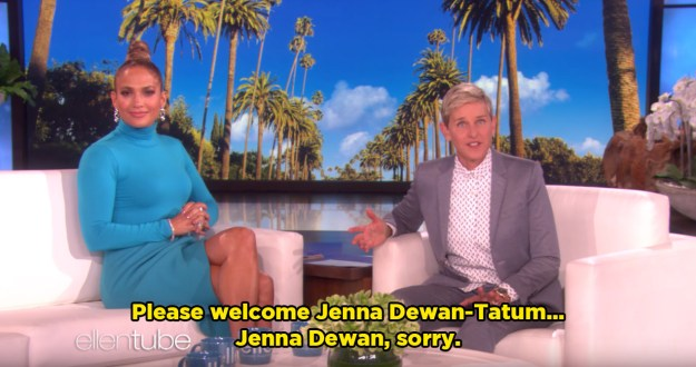 "When she introduced Jenna to the stage, Ellen slipped up and accidentally called her ""Jenna Dewan-Tatum""."