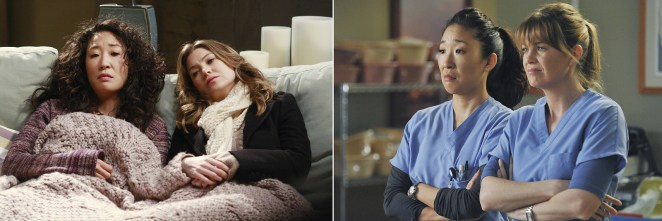 Oh and Ellen Pompeo as doctors Yang and Grey on Grey's Anatomy.